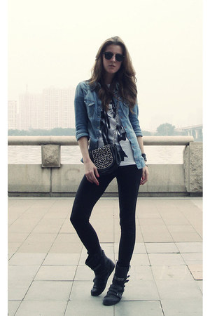 blue denim H&M shirt - black Miss Sixty boots - black Zara bag