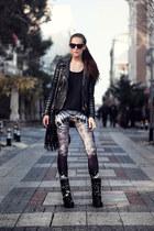 black leather bodaskins jacket - black studded WowVintagw sunglasses