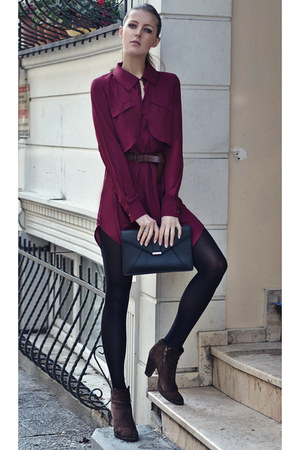 maroon chiffon Sheinside dress