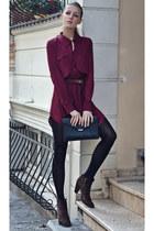 maroon chiffon Sheinside dress