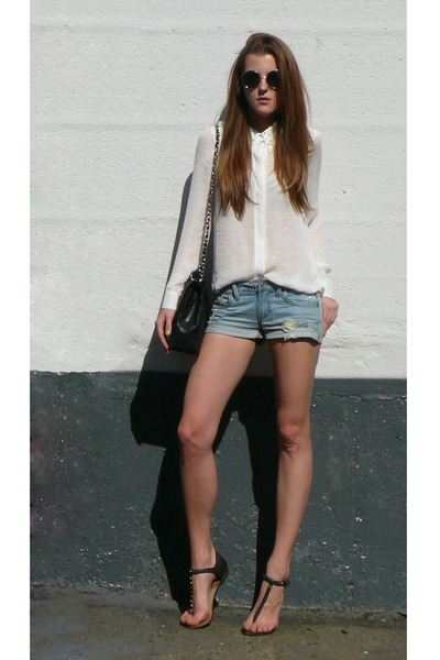 White Studded Zara Shirts, Light Blue Denim Shorts Forever 21 ...