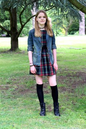 black ark dress - blue Topshop jacket - black new look bracelet