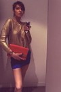Carrot-orange-h-m-bag-blue-h-m-skirt-gold-h-m-blouse