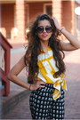 Mustard-urban-outfitters-dress-black-forever-21-sunglasses