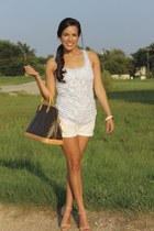 Louis Vuitton bag - Hudson shorts - Forever 21 heels - Express top
