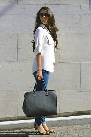 Express blouse - Hudson jeans - H&M bag - Topshop sunglasses - David Yurman ring