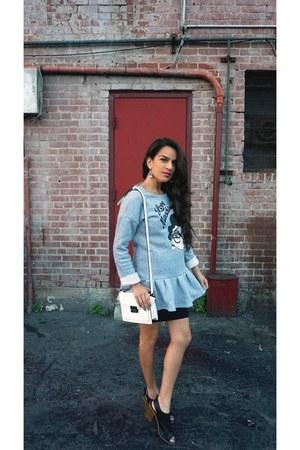 Moschino dress - Forever 21 bag - Forever 21 heels - Jeweltoned bodysuit