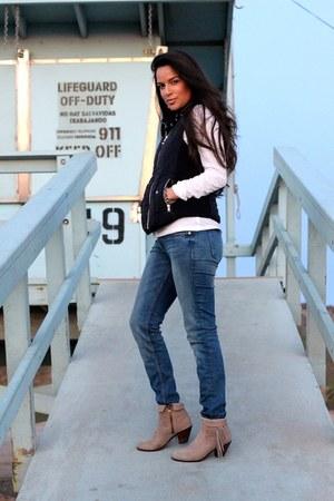 sam edelman boots - Hudson jeans - Gap sweater - Miu Miu sunglasses