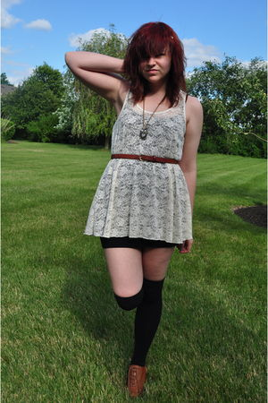 beige Forever 21 top - brown moms closet belt - black H&M skirt - brown Forever