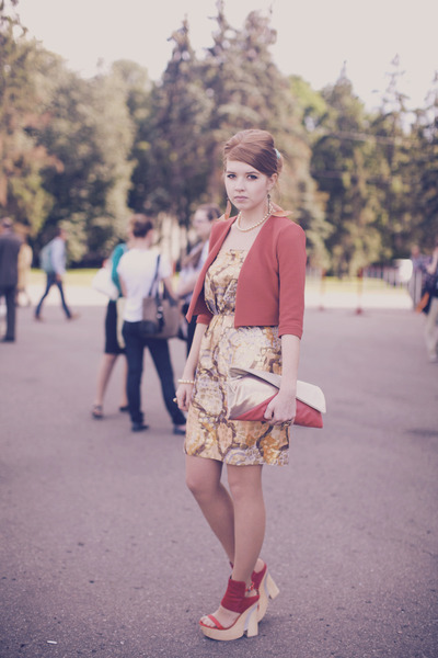 gold strapless dress See by Chloe dress - coral Topshop jacket