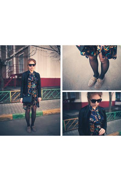 suede Dolce Vita shoes - dress - leather armani jacket - coach bag