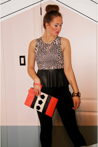 salmon neon clutch H&M purse - black H&M pants - cream Sparkle & Fade top