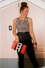 Salmon-neon-clutch-h-m-purse-cream-sparkle-fade-top-black-h-m-pants
