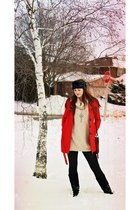 black fur DIY hat - black Ardene boots - ruby red Costa Blanca coat