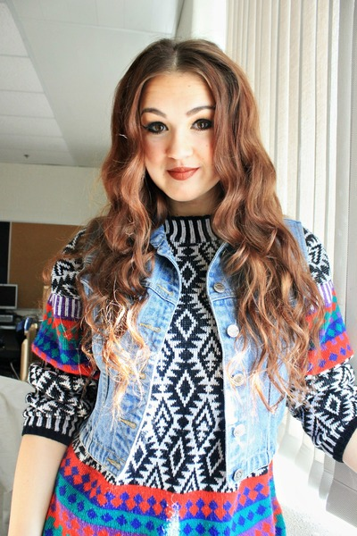 ruby red tribal print thrifted vintage sweater