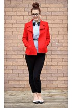 red H&M coat - light blue vest - black diy bow tie - black H&M pants