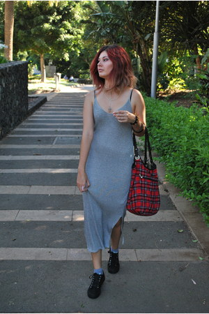 heather gray long Bershka dress - red plaid New Yorker bag