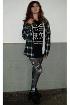 blue plaid carrefour coat - black chunky H&M boots