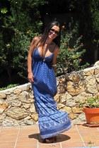 navy Oysho dress - brown Zara clogs