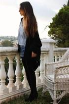 Zara boots - pullandbear shirt - DIY shorts - Zara cardigan