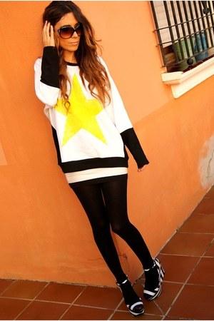 Zara sweater - h&m divided skirt - Zara wedges