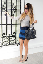 black purificación garcía bag - blue pull&bear skirt - black Zara heels