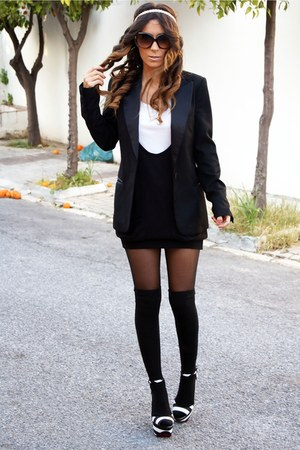 black H&M jacket - black h&m divided dress - white h&m divided t-shirt