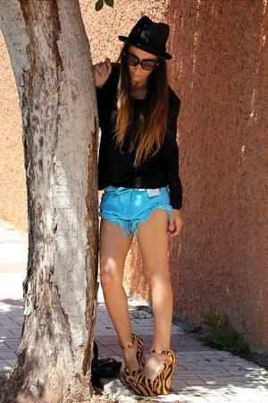 black H&M hat - black Primark shirt - sky blue Zara shorts