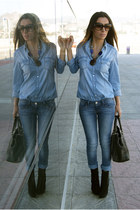 black Zara boots - blue Stradivarius jeans - blue Zara blouse