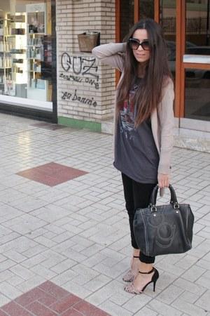 black Zara heels - black Lois jeans - black Purificacion Garcia bag