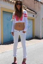 bubble gum Primark shirt - white Mango jeans - camel H&M sunglasses