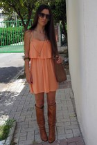 salmon Forever 21 dress - bronze Mango boots