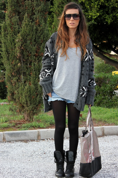 gray Zara Man cardigan - black Primark boots - silver Bershka bag