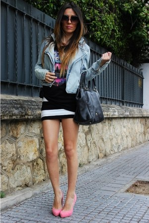 blue pullandbear jacket - black purificación garcía bag - black Zara t-shirt