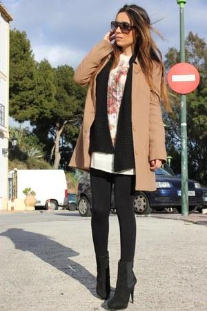 black Zara boots - cream Zara dress - bronze H&M coat - black Zara jumper