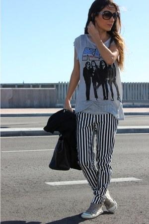 black purificación garcía bag - black Zara pants - silver Zara sneakers