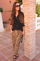 camel Zara pants - black Zara blouse - black Zara heels