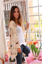 white Zara shirt - navy Bershka jeans - cream Zara cape
