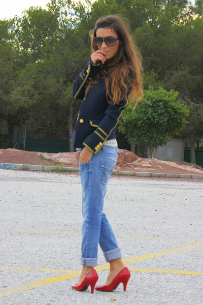 navy Zara jacket - blue Zara jeans - red Zara heels