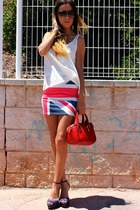 red skirt - cream Lefties shirt - red Zara bag - navy Zara heels