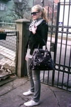 Bershka jacket - Bershka sweater - Red shoes - Fancy purse