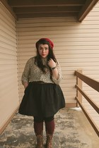 ruby red knit beanie Secondhand hat - brown thrift boots