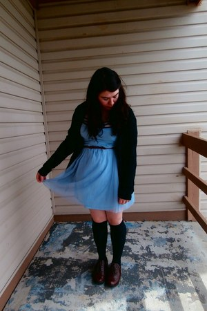 periwinkle thrifted dress - black thrifted cardigan