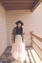 dark brown wide brim hat Secondhand hat - dark khaki anorak thrifted jacket