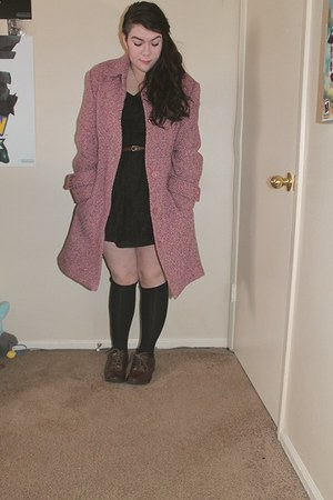 black lace thrifted dress - pink wool thrifted coat