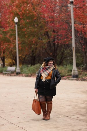black faux leather jacket - tawny boots - black button down skirt
