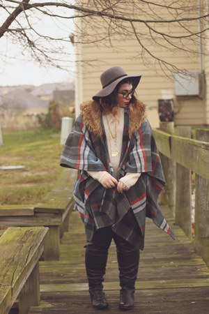 heather gray floppy hat hat - black boots - silver poncho coat