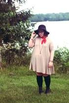 black heeled Target boots - camel Amazon dress - black floppy hat H&M hat