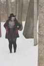 White-gingham-vinted-dress-black-wide-brim-forever-21-hat-black-jacket