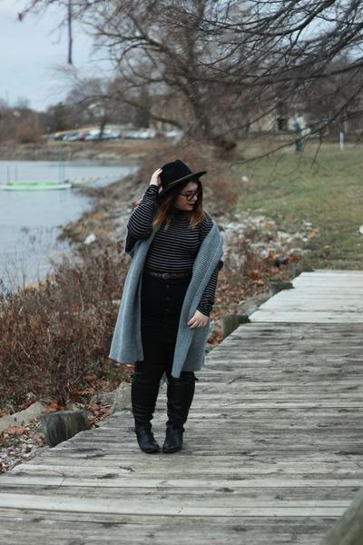black boots - gray kimono sweater - black button up skirt - black turtleneck top